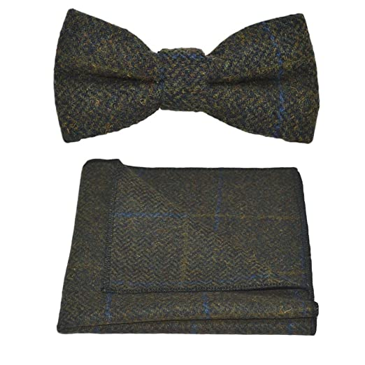 96abce0dcd8 Image Unavailable. Image not available for. Color  Luxury Juniper Green  Herringbone Check Bow Tie ...