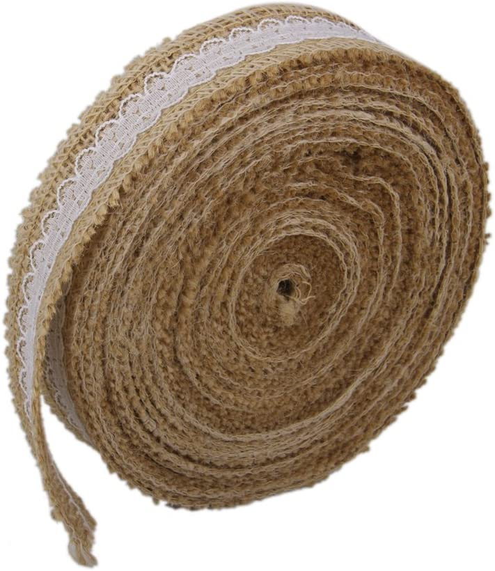 IPOTCH 1 Roll Natural Burlap Ribbon Roll with White Lace Trims Tape 10 yards 1 inch wide