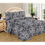 Black White Zebra Print Queen Size Sheet Set 4 Pc Safari Animal Print Bedding