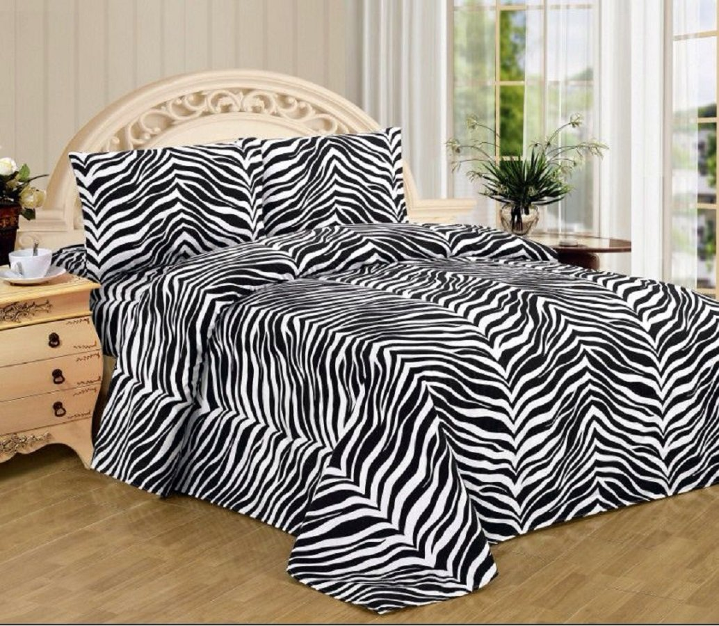 4 Piece Zebra Animal Jungle Print Super Soft Executive Collection 1500 Series Bed Sheet Set (King, White Black Zebra)