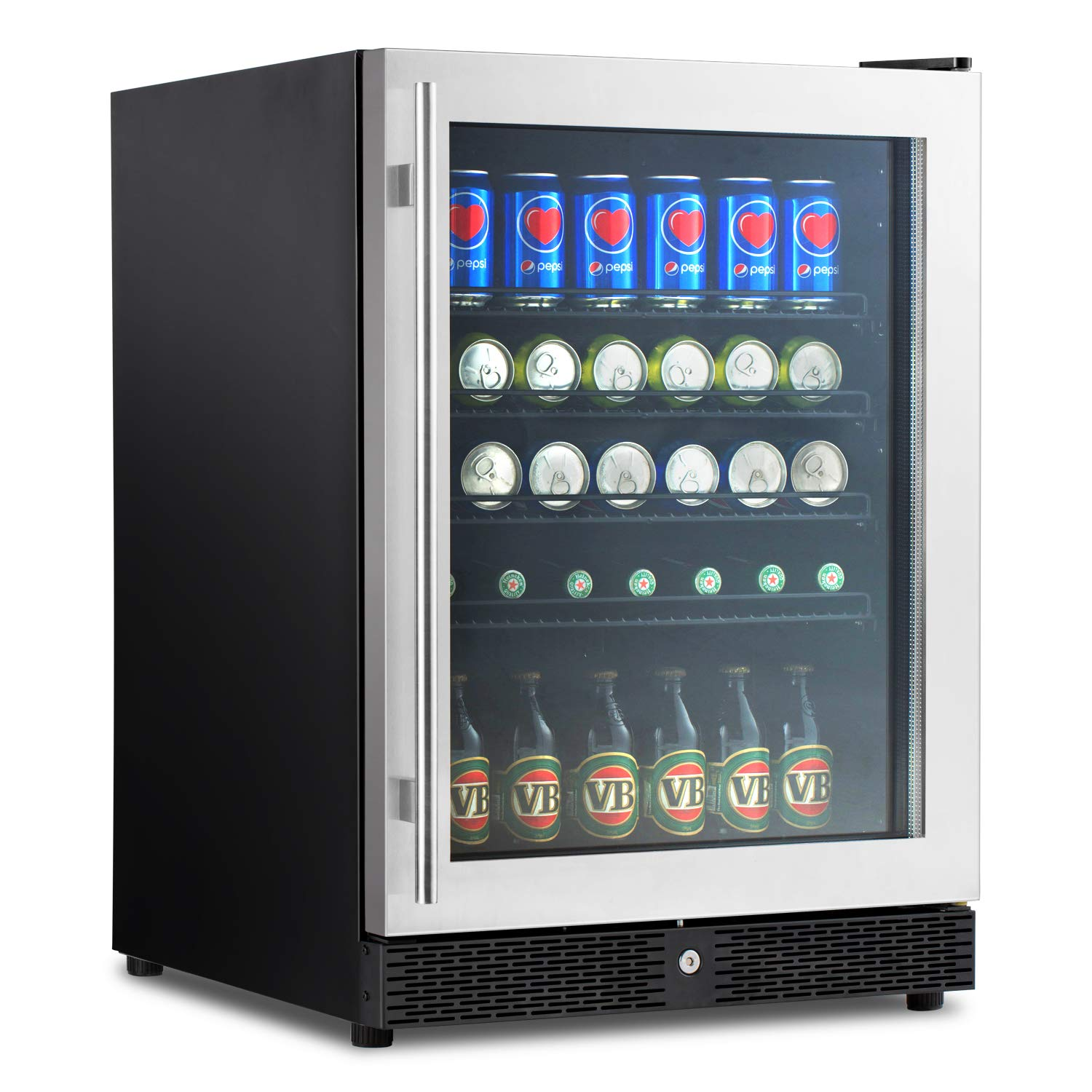 "Advanics 5.8 Cu.Ft 149 Can Frost Free Built-In Beverage Refrigerator and Fridge, 24"" Cooler with Lock & LED Lighting, Stainless Steel Trimed and Tempered Glass Door, SC-54F"