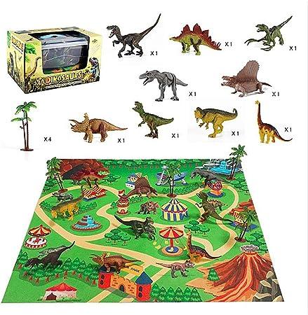 educativas Nuevo Figura De Juguete De Dinosaurio mostramos con actividad Play Mat /& árboles