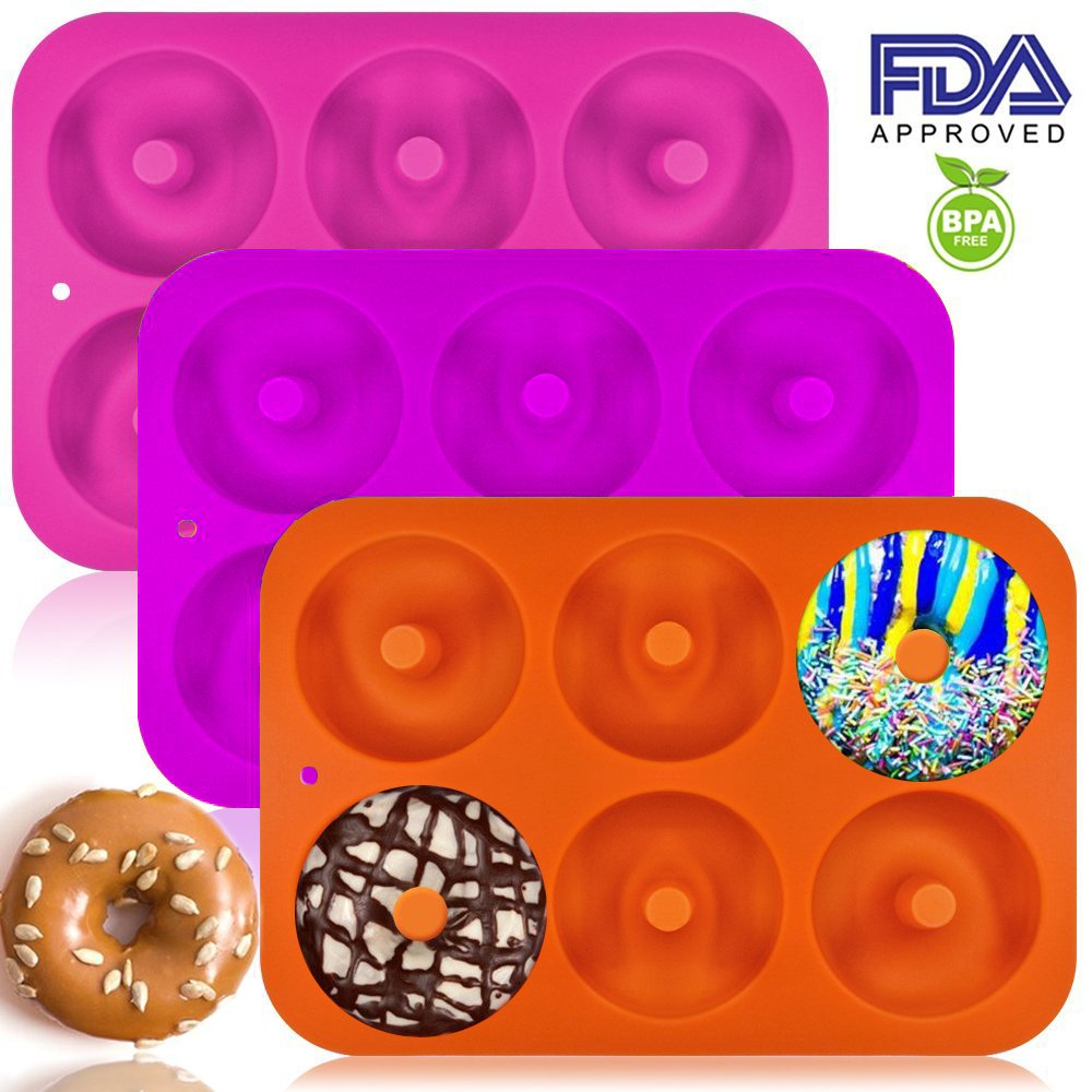 Non-Stick Donut Mold Freezer Safe,BPA/_Free,Bake Full Size Perfect Shaped Doughnuts by Amison 3 Pack Silicone Donut Baking Pan Oven Microwave Dishwasher