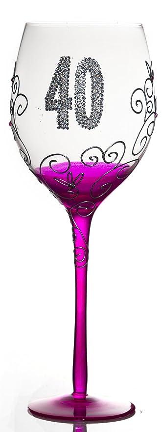 Boxer Tallulah - Copa de Vino Decorada a Mano, diseño conmemorativo de 40 cumpleaños, Color Azul