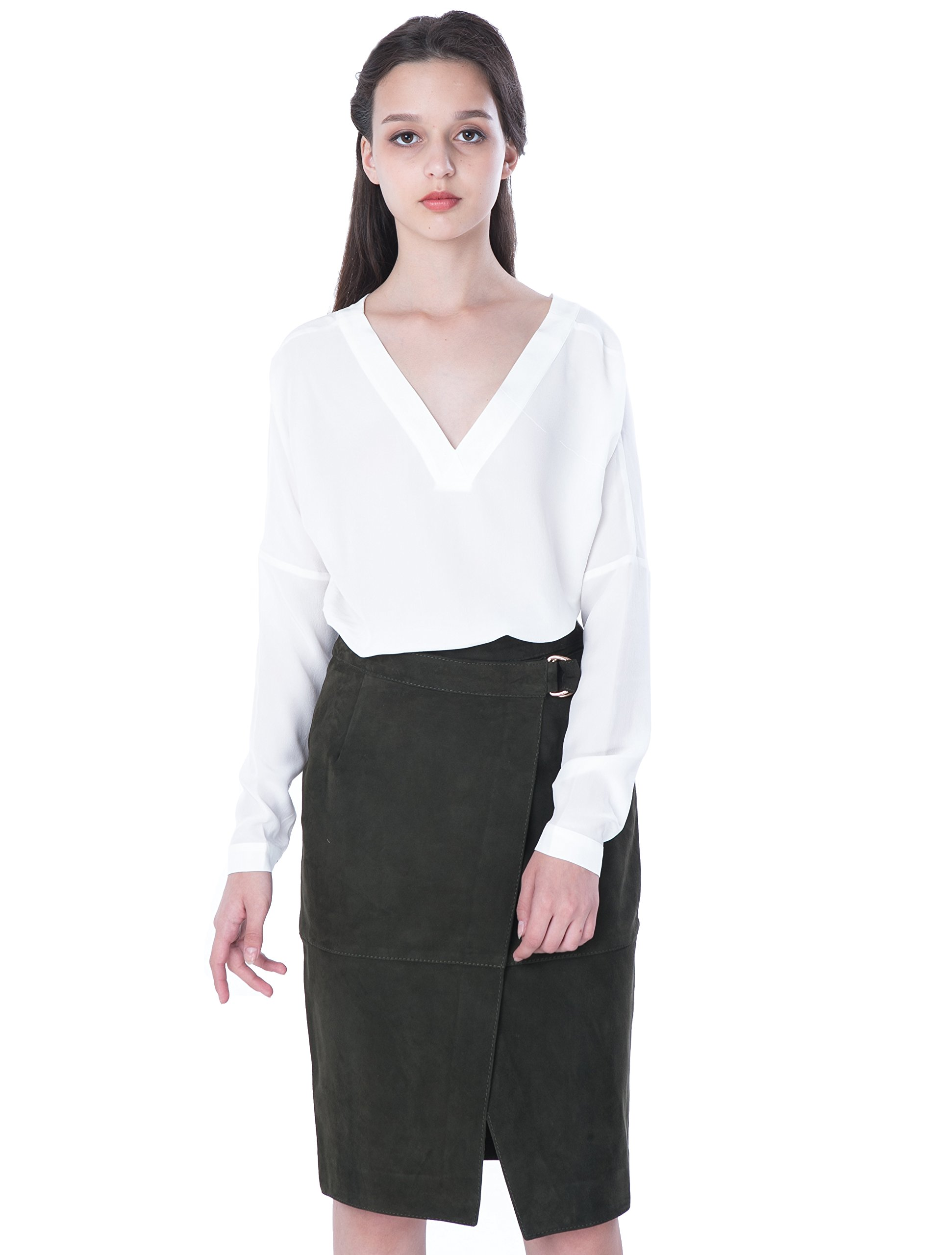 PHILIPPE LE BAC Women's Leather Midi Pencil Skirt for Office Wear