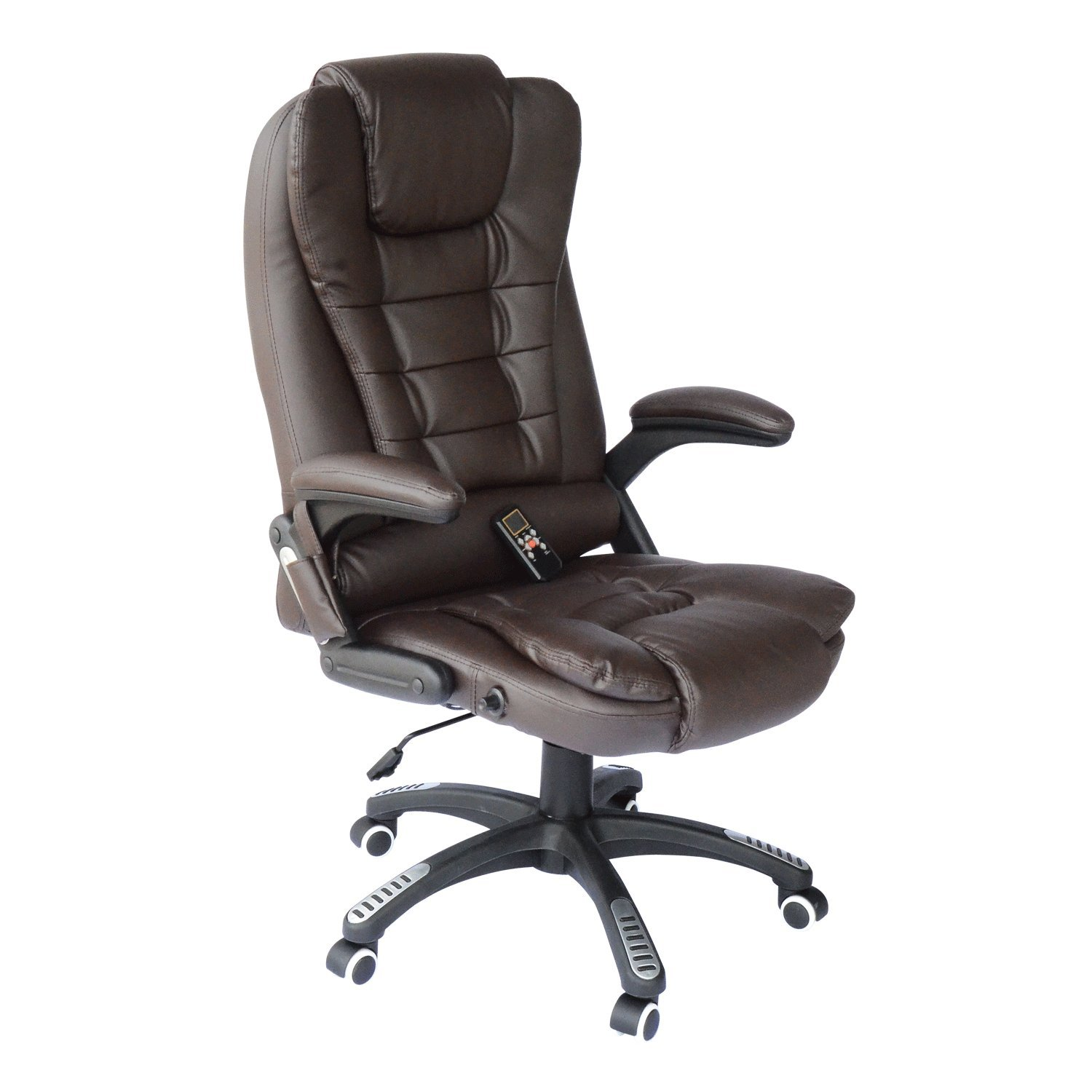Heated Vibrating Computer Desk Office Massage Chair Executive Ergonomic (One Size, Brown)