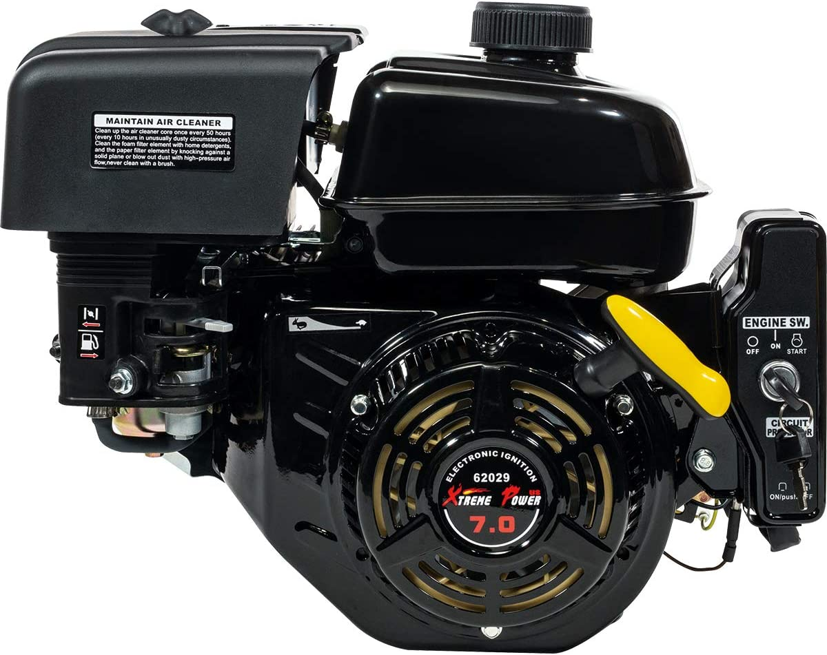 XtremepowerUS Electric Start 7 HP Go Kart Gas Engine Log Splitter Recoil/Electric Start Engine Gas Power Gasoline OHV Motor, Black