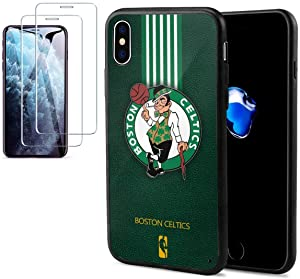 """Phone Case for iPhone X Case/iPhone Xs Case [with 2Pcs Tempered Glass Screen Protector]- N B A Team Logo Phone Case for X/XS Case 5.8"""" Anti-Scratch Cover Case -Celtics"""