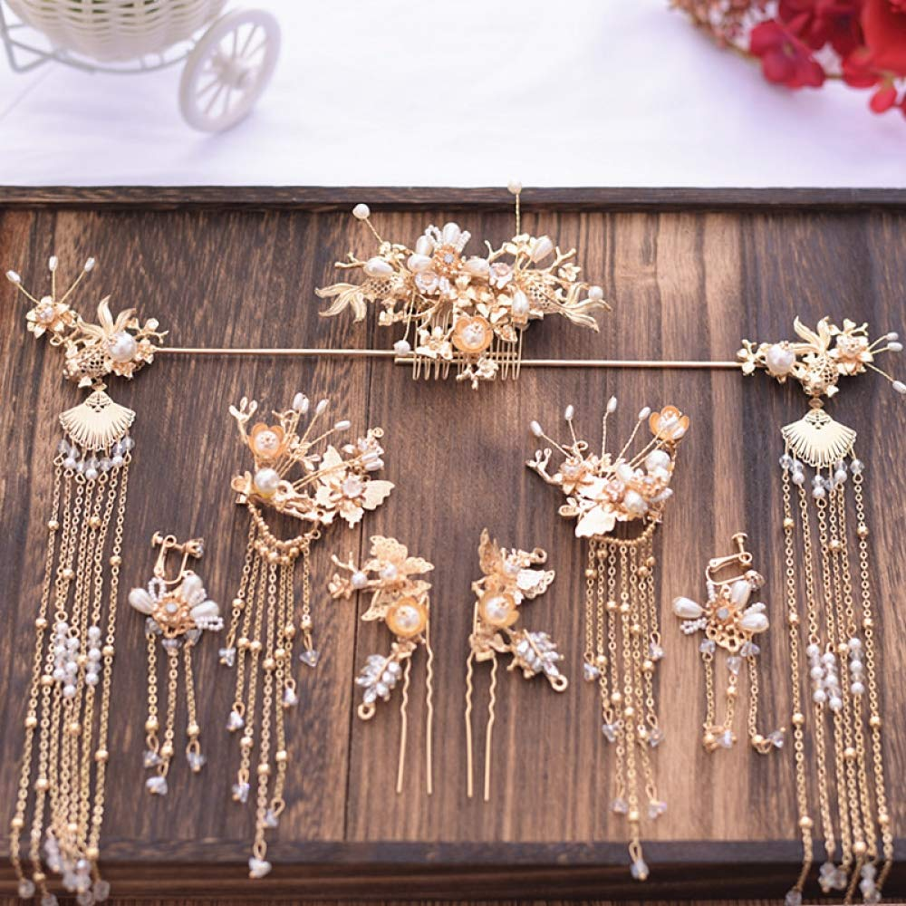Vintage Hair Accessories Women's Chinese Classical Bride Handmade Tiara Hairpin Beautiful and Noble Golden Flower Hairpin Tassel Earrings by THTHT