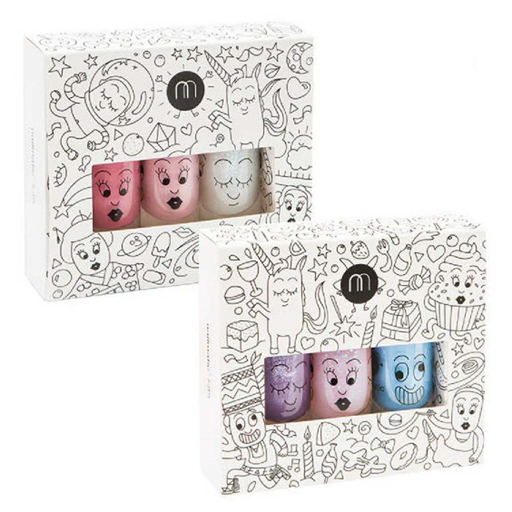 [Nailmatic] Kids Nail Polish removing with water and soap from France 8ml x 3ea SetA(Piglou,Polly,Gaston) SetB(Cookie,Bella,Super)