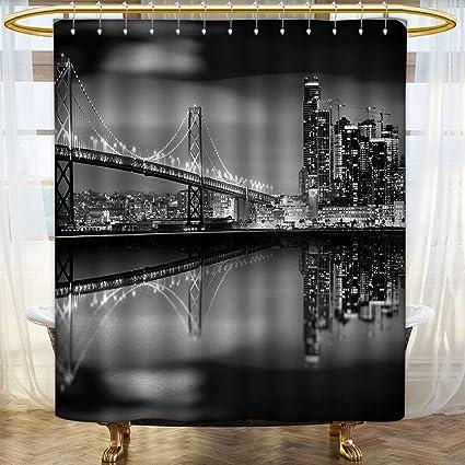 Anhounine Black And White Shower Curtains 3D Digital Printing San Francisco Bay Bridge Metropolis Panorama View