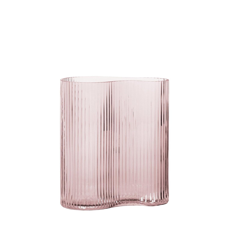 CASAMOTION Vase Hand Blown Glass Vase,Stripe Tabletop Centerpiece Flower Vases,Décor Gift Box,Light Blue,30.6cm H