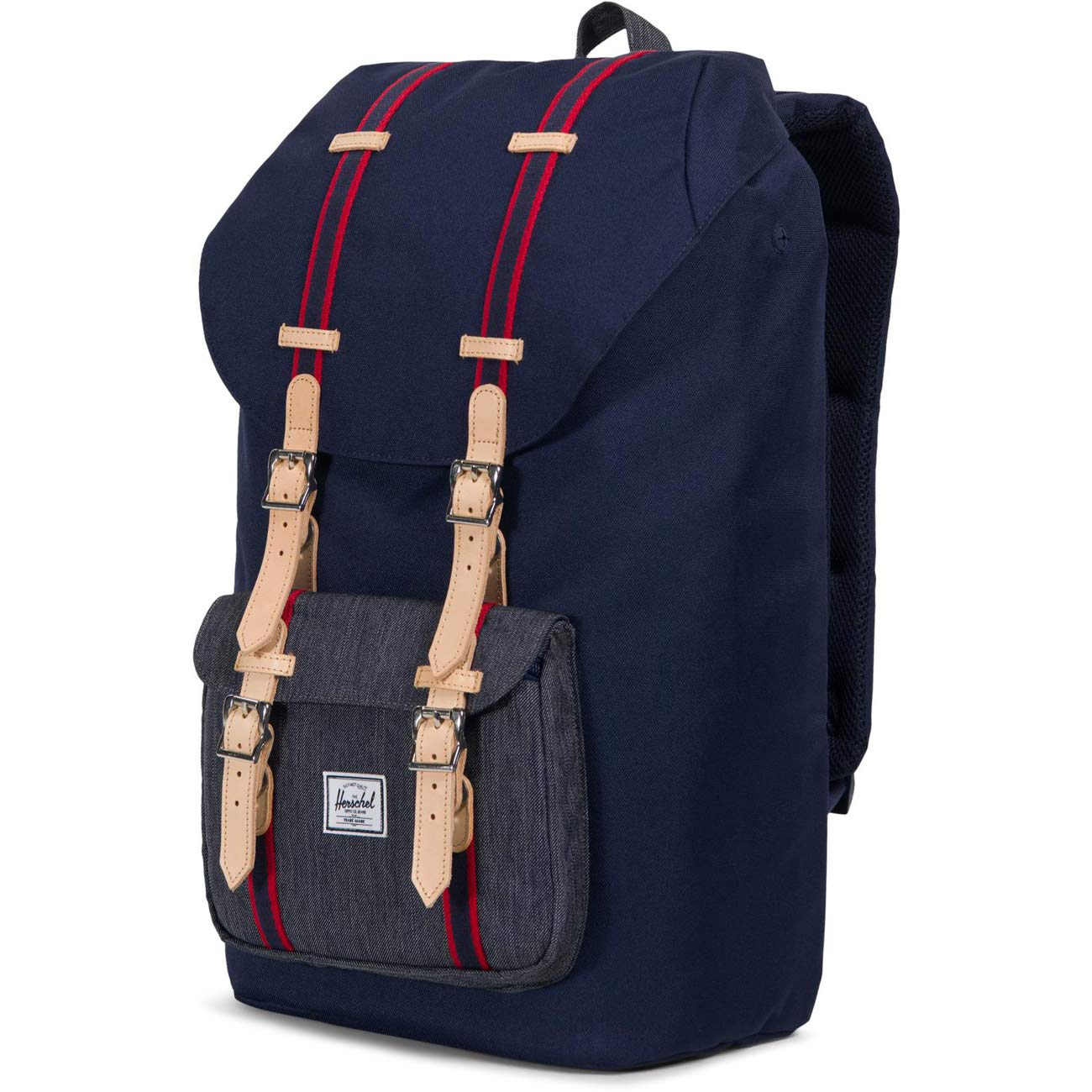 , Drawcord Zip Black Fabric,Rucksack Backpack Bags Herschel Little America Rubber Brown Fabric, Rubber, Black, Brown, White, Unisex, 38.1/cm 15