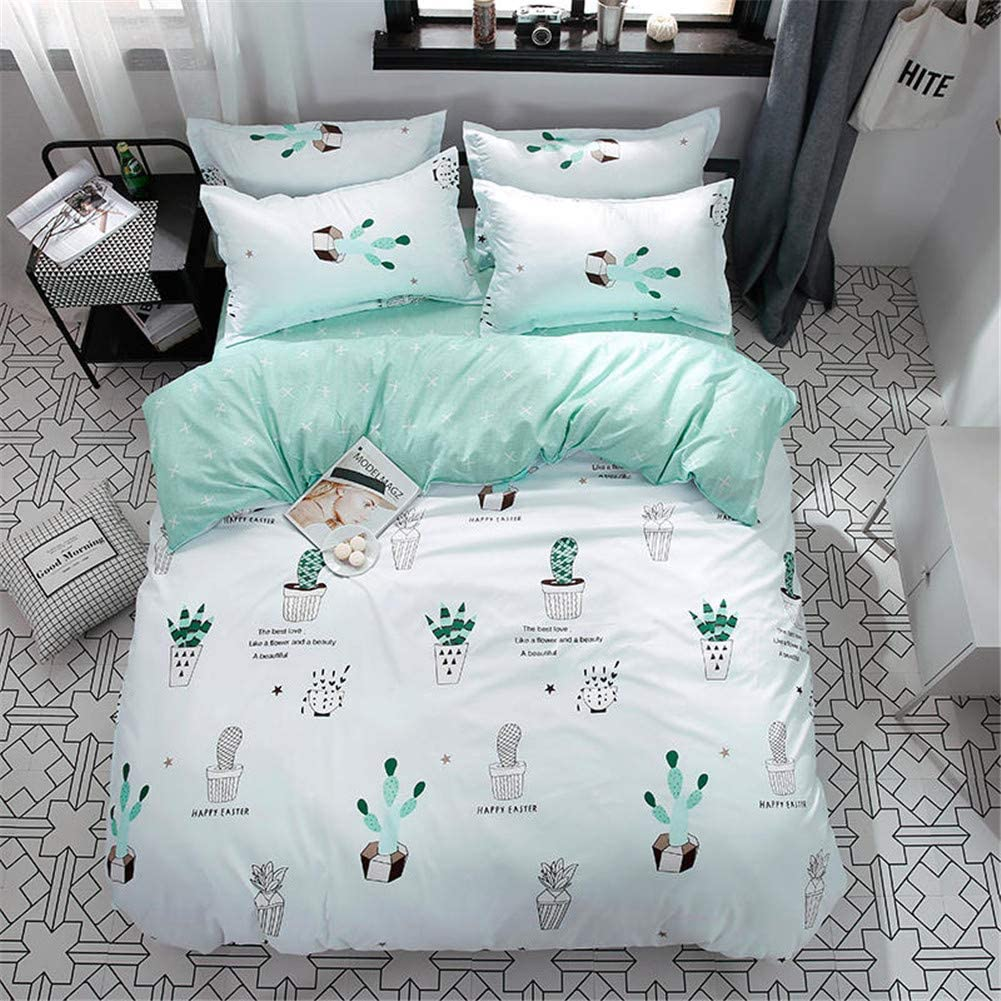 Vefadisa Green Cactus Comforter Cover Sets Twin-4pcs Quilt Cover Set- 1 Duvet Cover 2 Pillow Sham 1 Flat Sheet with Zipper Closure-Soft Breathable Cotton Printed Bedding Sheet Sets for Boys Girls