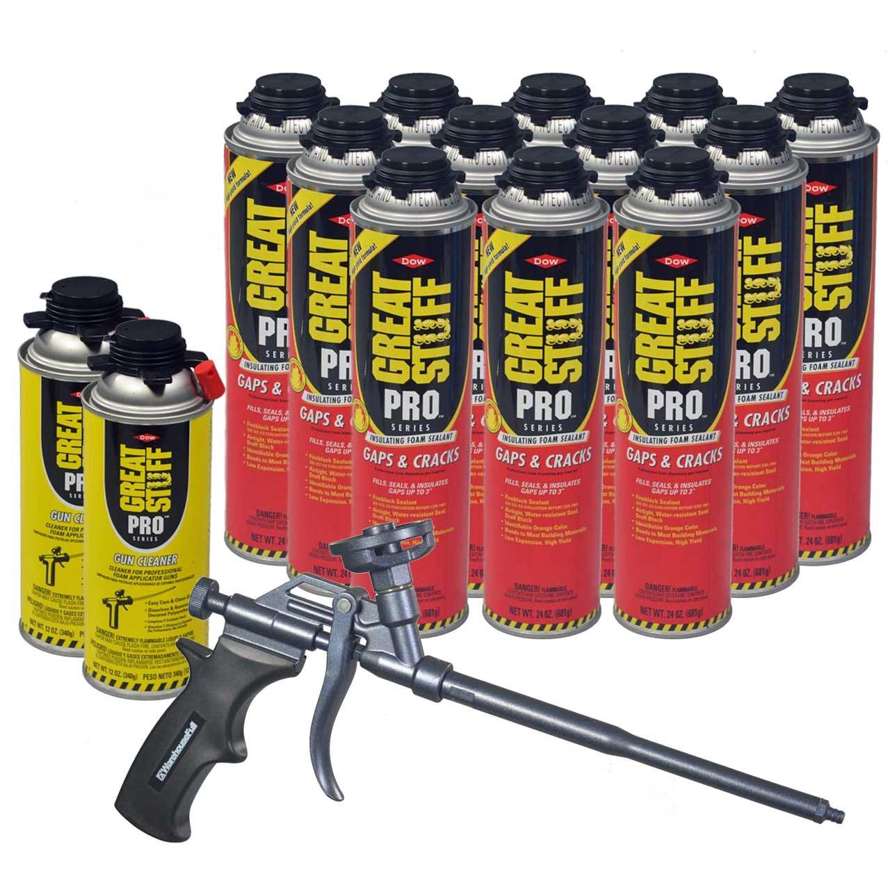 Dow Great Stuff Pro Gaps and Cracks 24 oz Foam (12) + AWF Teflon Pro Foam Gun (1) + Dow Great Stuff Pro foam Gun Cleaner (2)