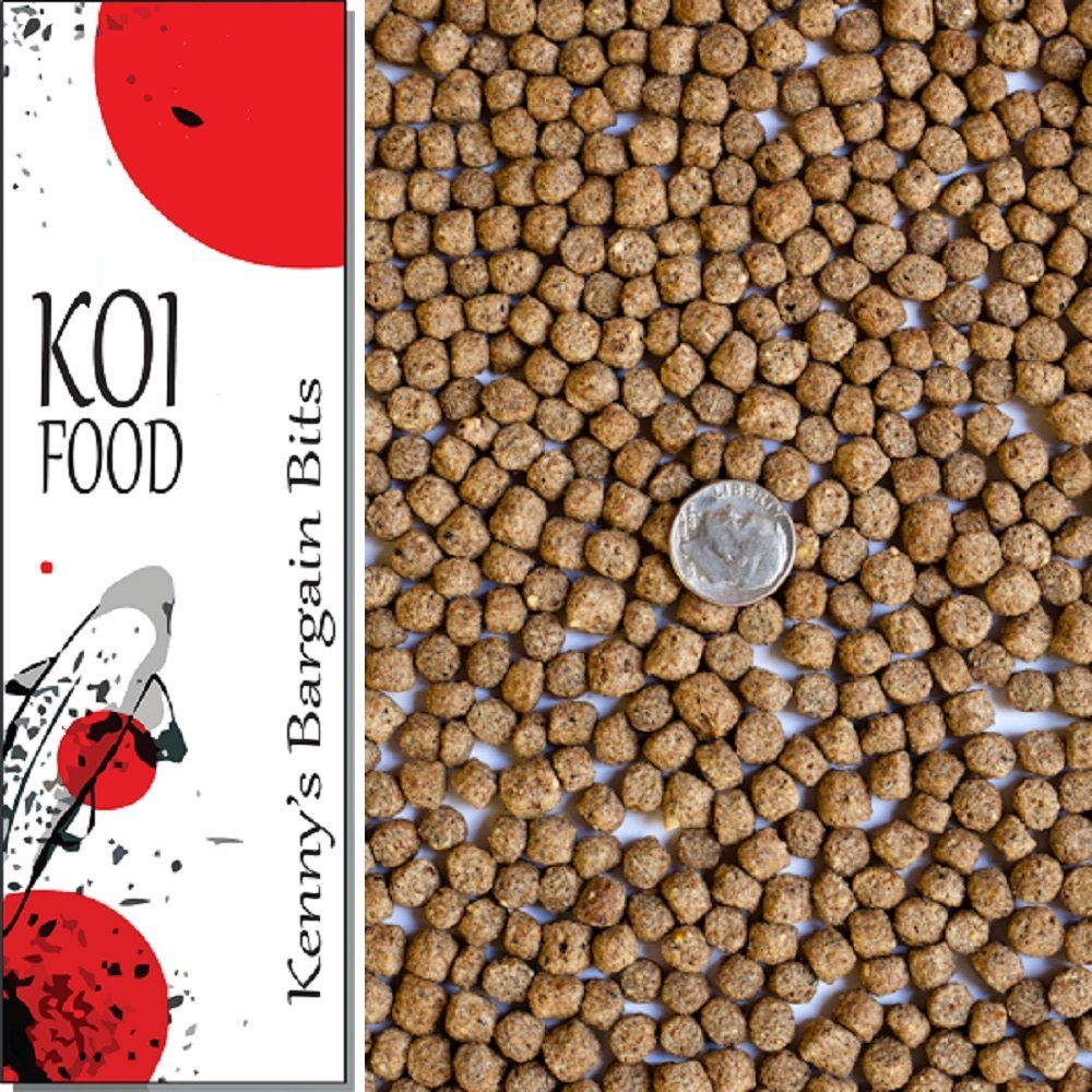25 lbs Koi Fish Food 3/16'' - 1/4'' Pond Pellets with 32% Protein - Kenny's Bargain Bits - Heavy Duty Sealed Poly Bag