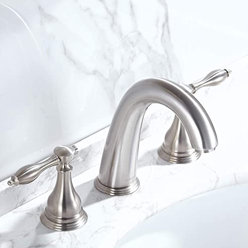 RODDEX Widespread Bathroom Sink Faucets Lead Free Brass 8 Inch Two Handle 3 Hole Vanity Bath Faucet, Brushed Nickel
