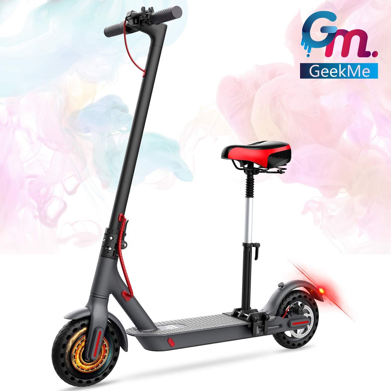 GeekMe Scooter patinete electrico adultos con asiento desmontable de 8,5 pulgadas 25 km / h | Scooter plegable con pantalla LCD | Batería de litio 7.5 A | Carga máxima 120 kg para adultos y adolescent