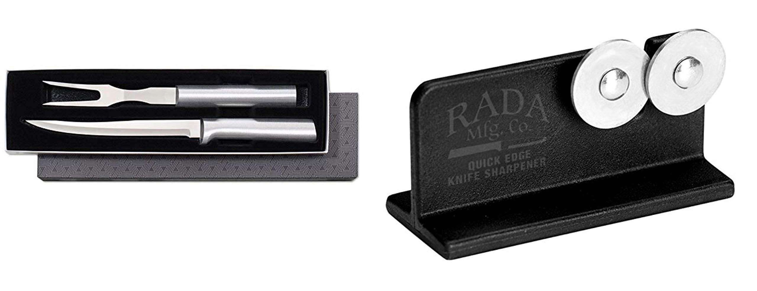 Rada Cutlery 2-Piece Carving Knife & Fork Set PLUS Rada Quick Edge Knife Sharpener