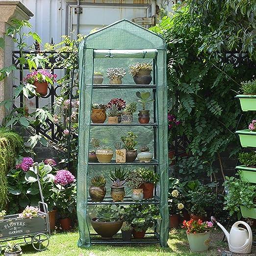 ZCCWS - Parasol de jardín Grande para Caminar al Aire Libre, para Tomate, Verduras, Invernadero, Color Verde, Marco de Metal Compacto, Cubierta de plástico de Polietileno, diseño de Flores: Amazon.es: Jardín