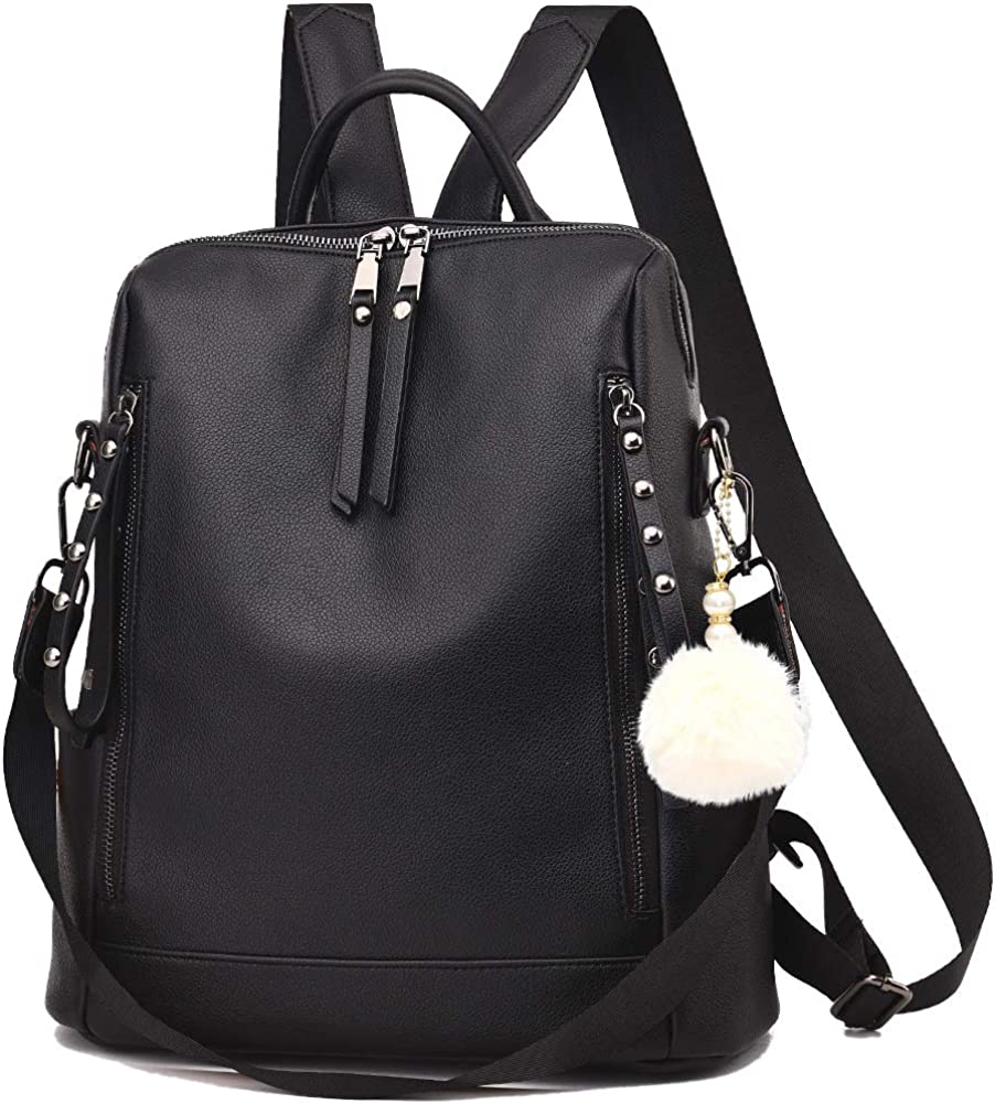 Backpack Purse for Women Multi-pocket Large Capacity Leather Shoulder Bag Multi-purpose Cute Backpack for Girls