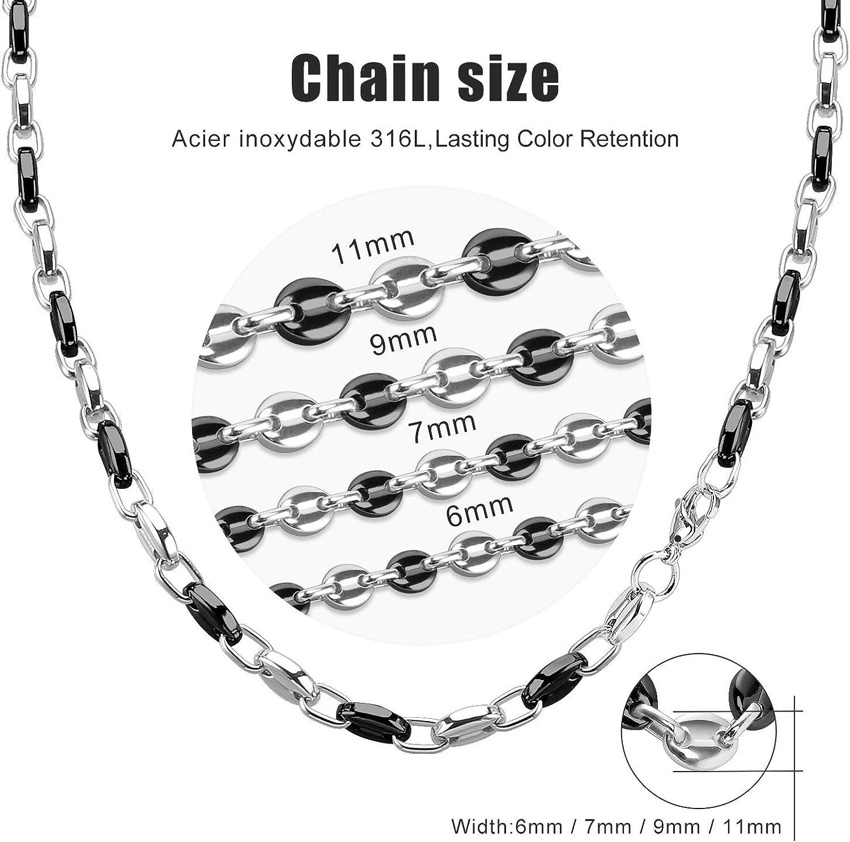 AURSTORE/® Chaine pour homme acier inoxydable maille graine de caf/é couleur au choix 11mm 56cm