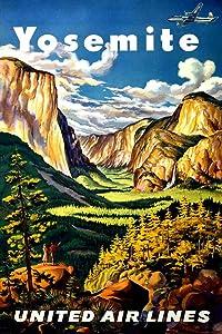 Visit Yosemite National Park California Half Dome Mountain Fly United Air Lines Camping Hiking Rock Climbing Nature Vintage Illustration Travel Cool Wall Decor Art Print Poster 24x36