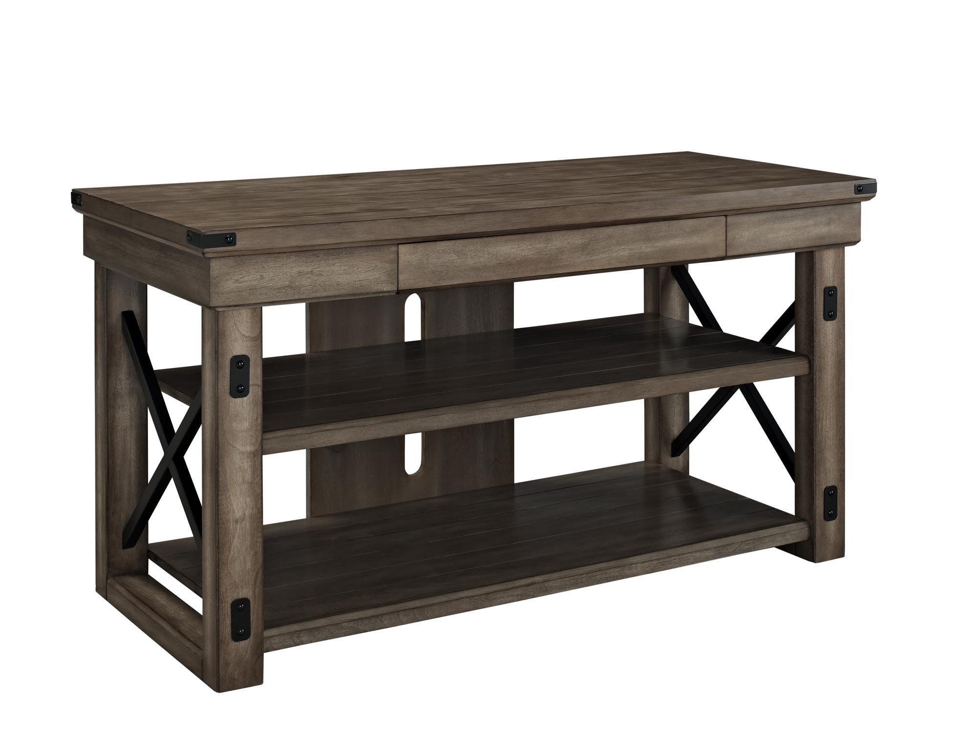 Ameriwood Home Wildwood Wood Veneer TV Stand for TVs up to 50'' Wide, Rustic Gray