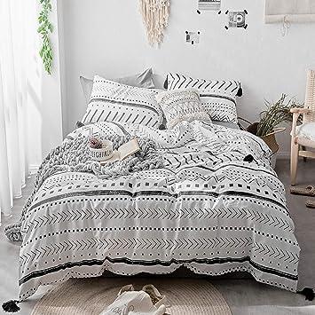 HIGHBUY Stripe Twin Bedding Sets Cotton Duvet Cover Set Kids Boys White  Black Geometric Arrow Comforter Cover Set for Teens Girls Bedding ...