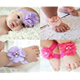 iiniim Baby Girls 5 Sets Headband Bow and Barefoot Sandals Foot Flower Band Gift