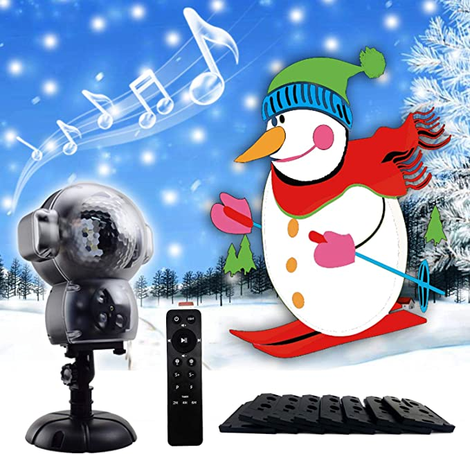 JIANKE Christmas LED Projector Lights Halloween Music Snowfall Animation Landscape Fairy Decor for Indoor Outdoor Garden Party Multi-Colored