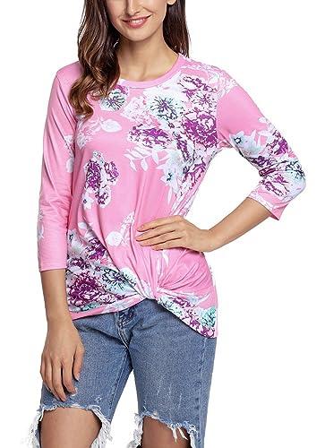 Nicetage - Camisas - Floral - Cuello redondo - para mujer