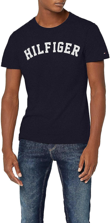 Tommy Hilfiger Logo Camiseta de Cuello Redondo,Perfecta para El Tiempo Libre, Azul (Navy Blazer), XL para Hombre