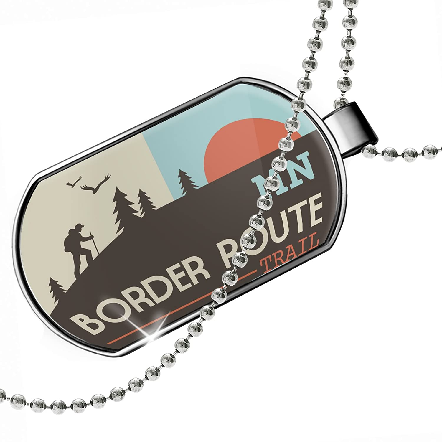 Minnesota Dogtag Necklace NEONBLOND Personalized Name Engraved US Hiking Trails Border Route Trail