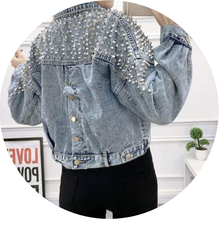 As photo zhmw Korean Spring Autumn Female Coat Cropped Woman Jeans Jackets Rivet Vintage Coats Streetwear