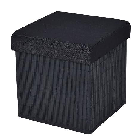 Elegant Folding Storage Cube Bamboo Ottoman Seat Stool Box Footrest Decor Black