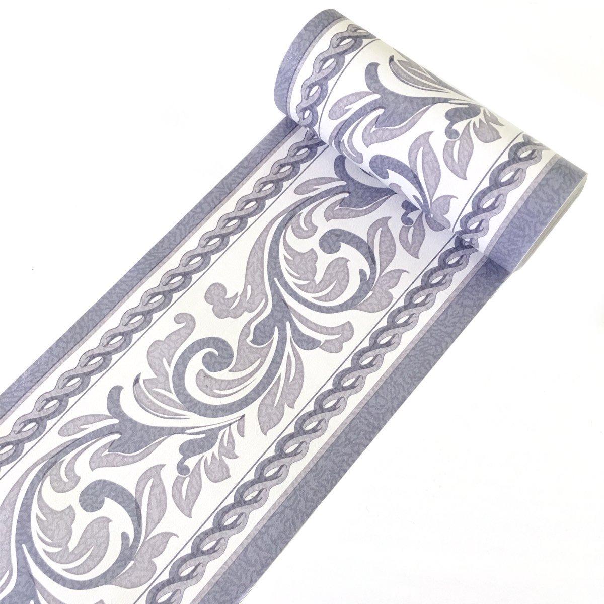 Yifely Moistureproof PVC Wallpaper Border Peel & Stick Scroll Wall Borders Sticker Home Decor