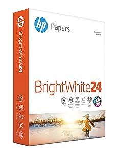 HP Printer Paper, BrightWhite24, 8.5 x 11, Letter, 24lb, 97 Bright, 500 Sheets / 1 Ream (203000R), Made In The USA