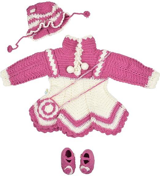 df9f204e4 Kuchipoo Baby Girls  Hand Knitted Woollen Knee-Long Dress (KUC-FRK ...