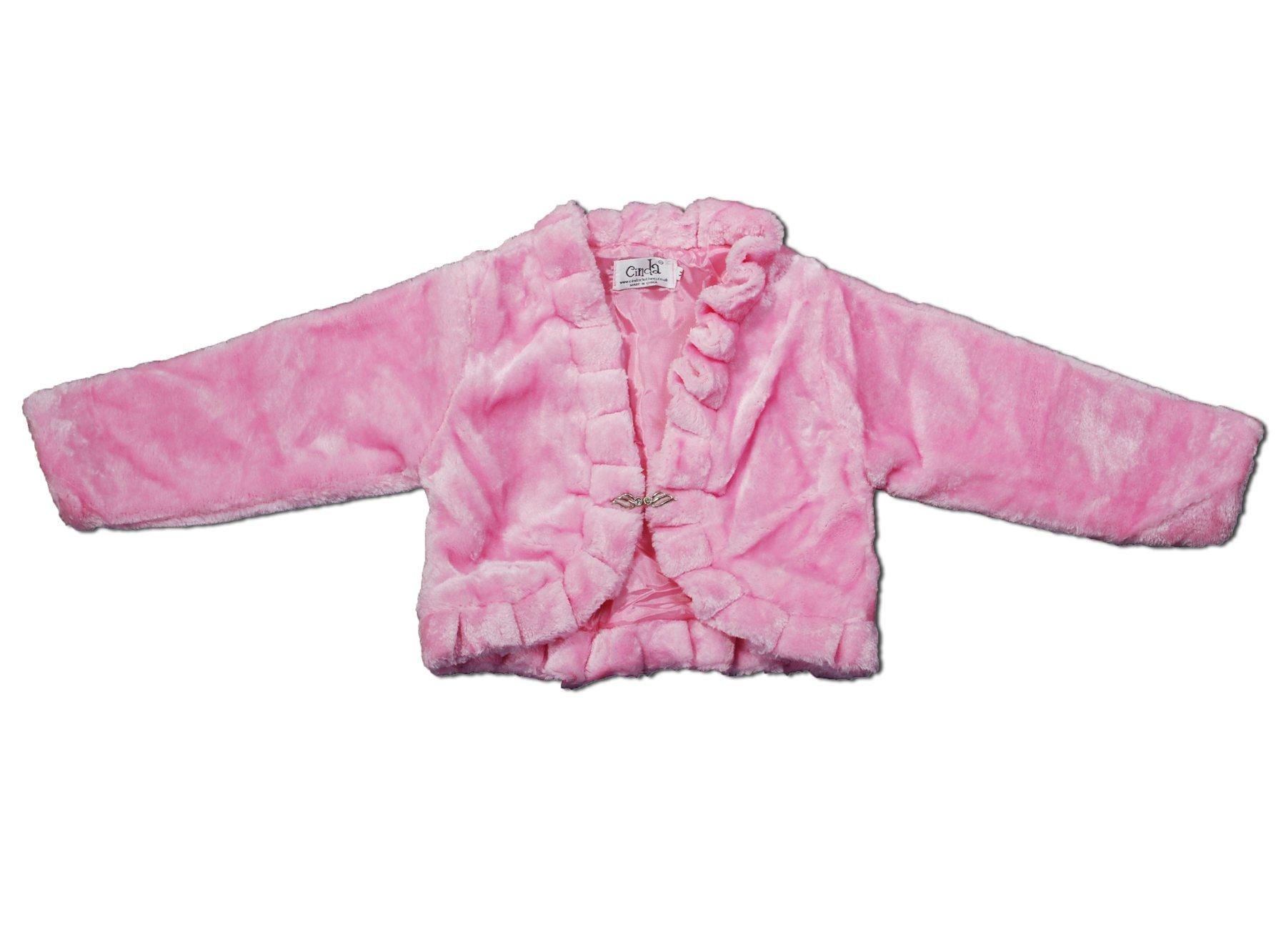 Cinda Clothing Big Girls' Long Sleeve Faux Fur Coat Bolero 7-8 Years Pink