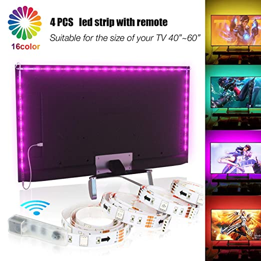 2m Led Strips Lights With Remote Usb Tv Backlight Kit For 40 60in