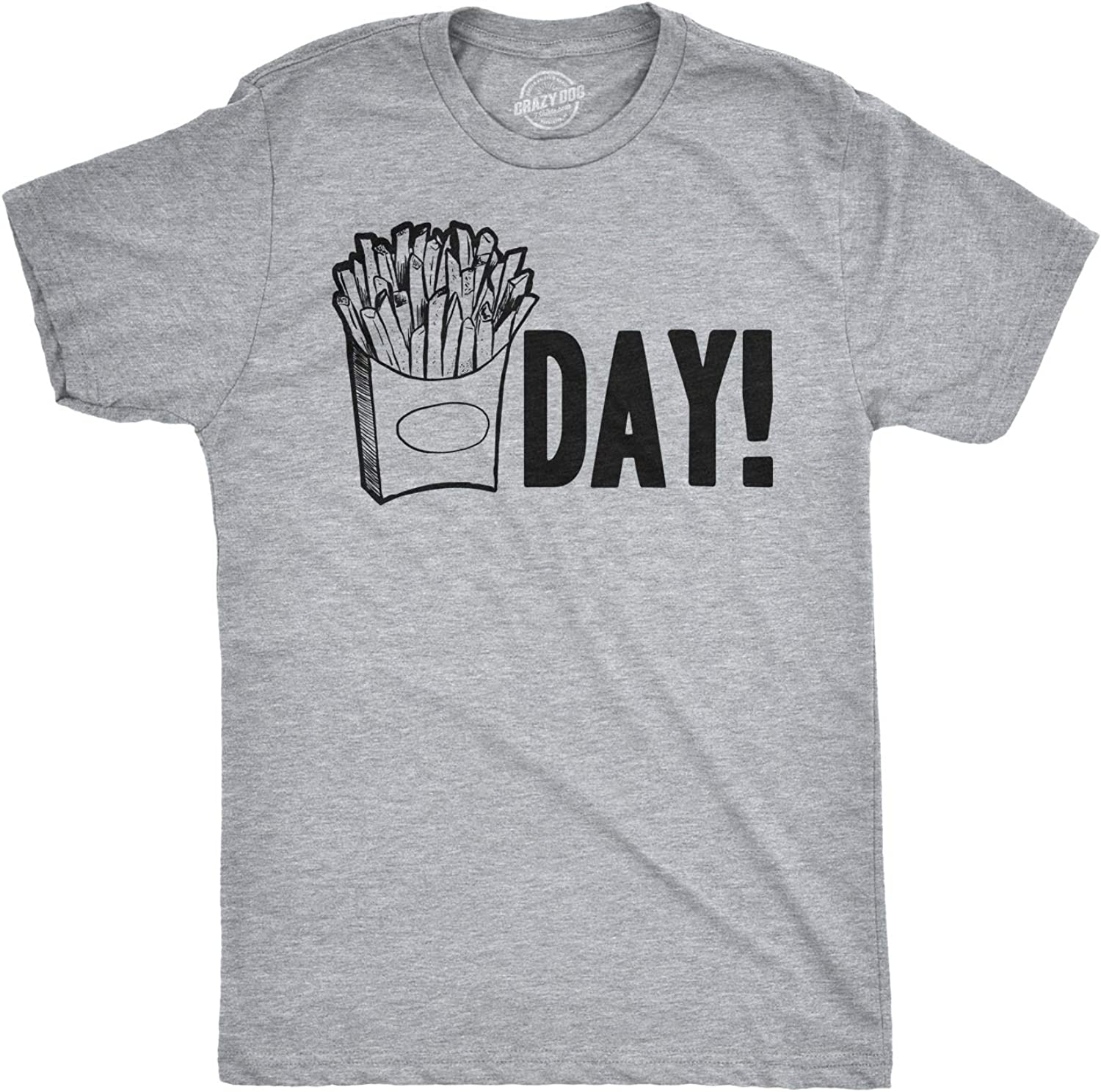 Crazy Dog T-Shirts Mens Fry Day Friday T Shirt Funny Fast Food French Fry Weekend TGIF Tee