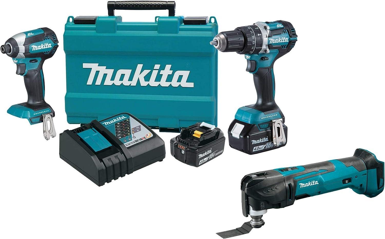 Makita XT269M 18V LXT Lithium-Ion Brushless Cordless 2-Pc. Combo Kit (4.0Ah) with XMT03Z 18V LXT Lithium-Ion Cordless Multi-Tool