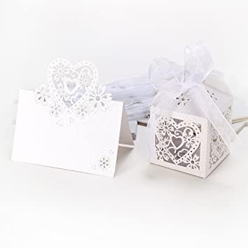 10Tlg. Ivory Weiß Platzkarten Tischkarten Namenskarte Einladungskarten U0026  Gastgeschenk Geschenkbox Bonbon Box Bonboniere Box Kartonage