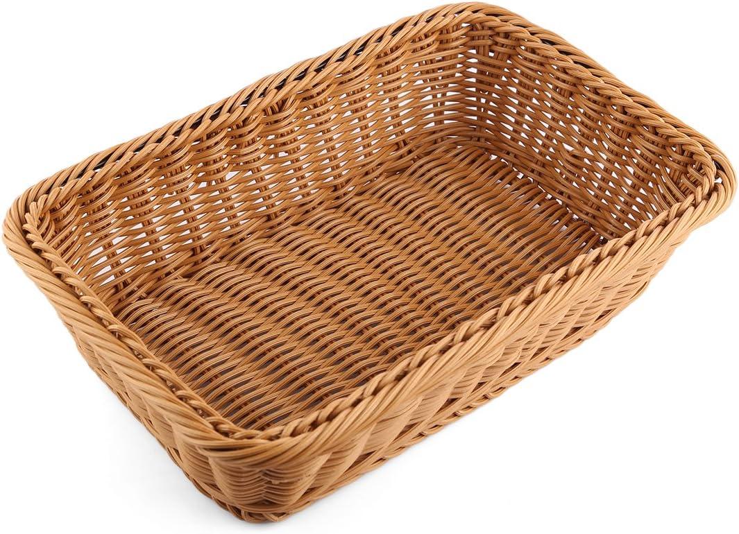 Bread Basket, Yamix Rectangle Imitation Rattan Bread Basket ,Food Serving Baskets,Restaurant Serving/Diplay Baskets For Fruit Food Vegetables - Dark Brown