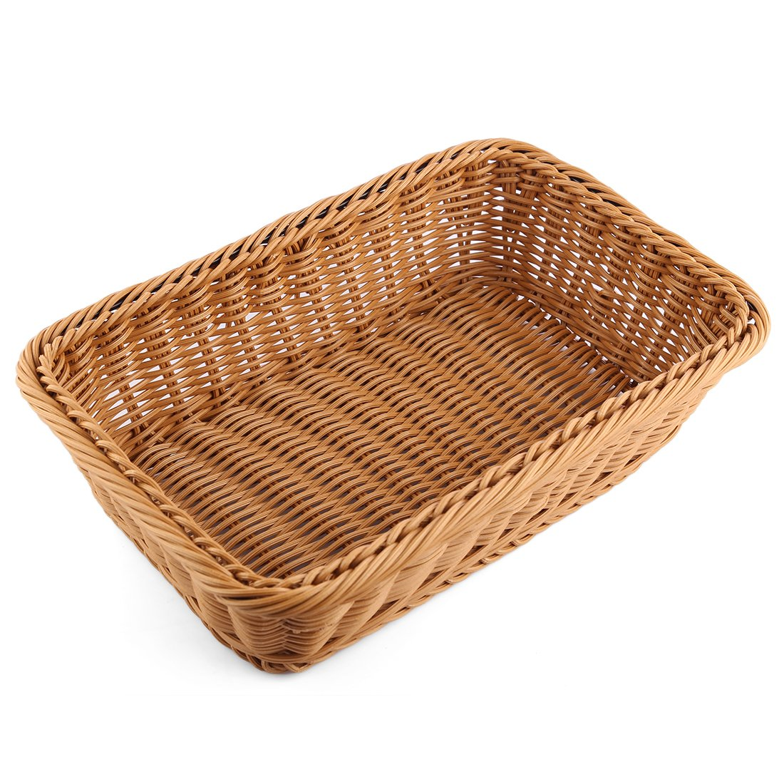 Bread Basket, Yamix Rectangle Imitation Rattan Bread Basket ,Food Serving Baskets,Restaurant Serving/Diplay Baskets For Fruit Food Vegetables - Dark Brown