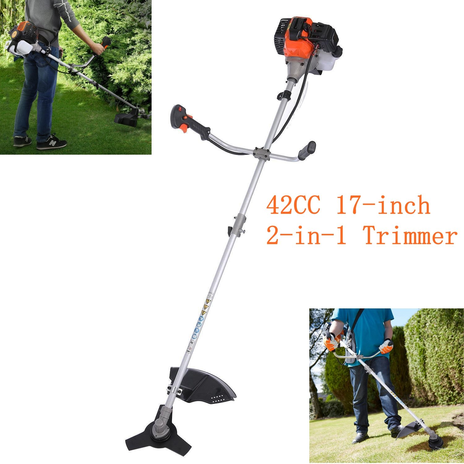 Vividy 42CC 2-Stroke Gas Powered Trimmer, 2 in 1 Long Reach Pole Gas Weed Eater, Weed Wacker Straight Shaft for Lawn Garden [US STORAGE]