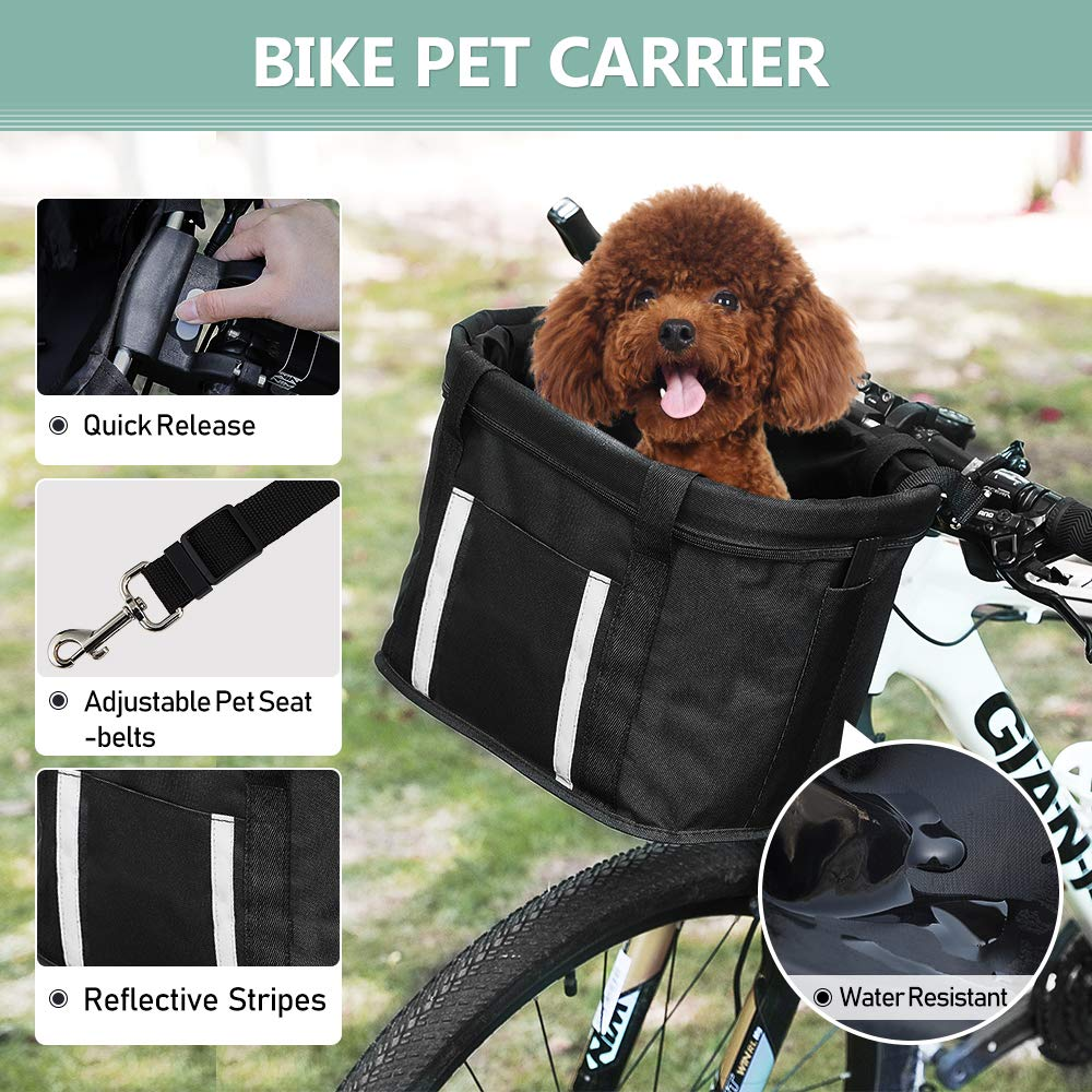 ANZOME Dogs Carrier Bike Basket, Handlebar Basket Folding Front Removable wiht Adjust Dog Seatbelts Bicycle Baset Quick Release Easy Install Detachable Cycling Bag Mountain Picnic Shopping by ANZOME (Image #3)
