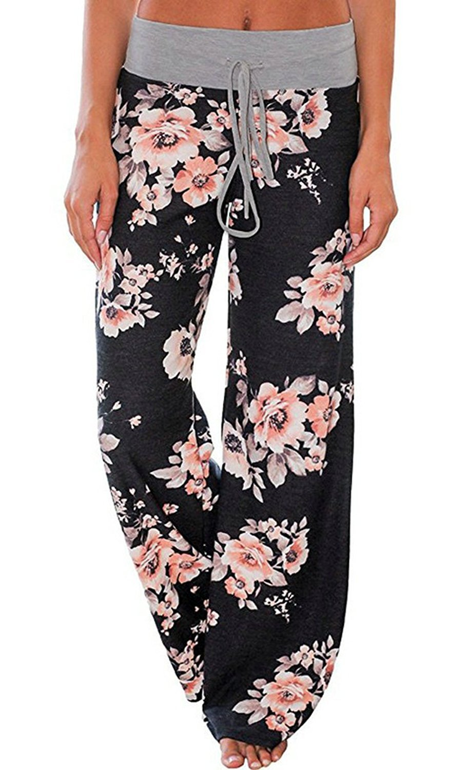 AMiERY Womens Summer Joggers Floral Loose Pajamas Palazzo Lounge Pants for Women (Tas M(US M), Black)
