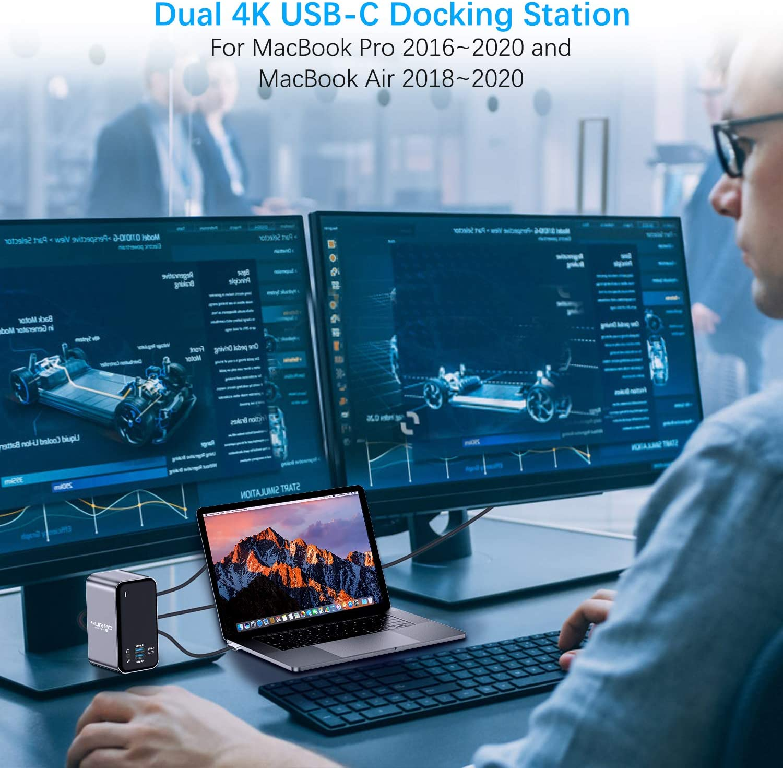 4K Triple Display 13 Ports Laptop Docking Station for MacBook Pro Air Thunderbolt 3 USB C Dock USB C Dual Monitor Docking Station for MacBook Pro Air 2 4KHDMI DP 100W PD3.0 RJ45 6USB USB-C Audio